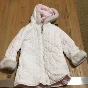 Gymboree girls parka hood faux fur 4